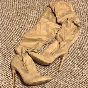 Nude Over the Knee High Heel Boots